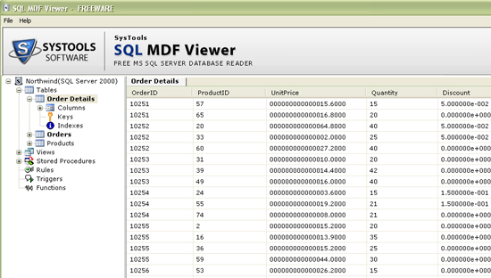 SQL MDF Viewer screenshot